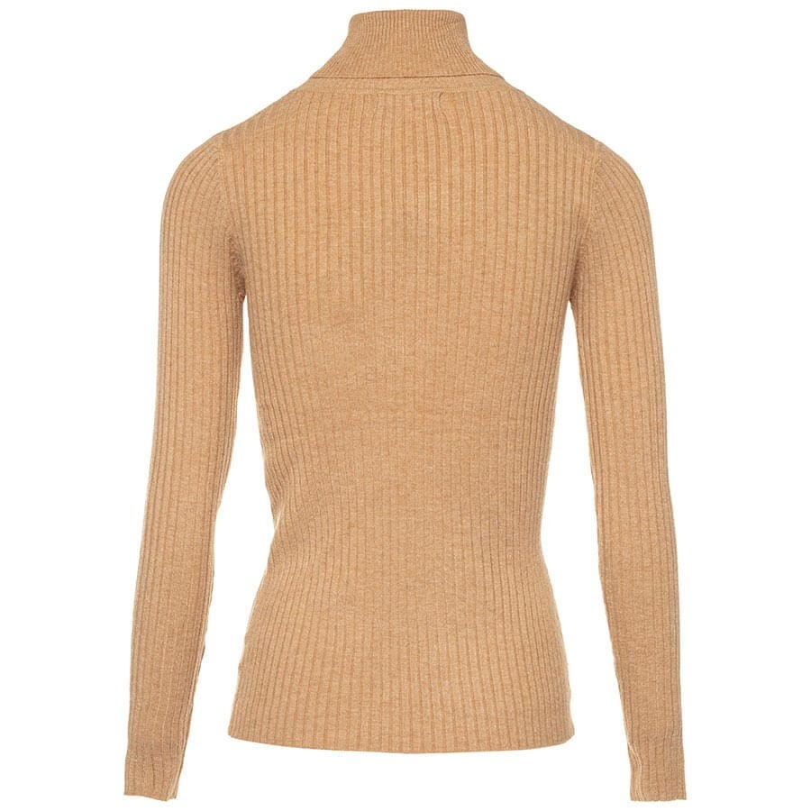 Gebreide ribtrui met col beige Truien & Sweaters