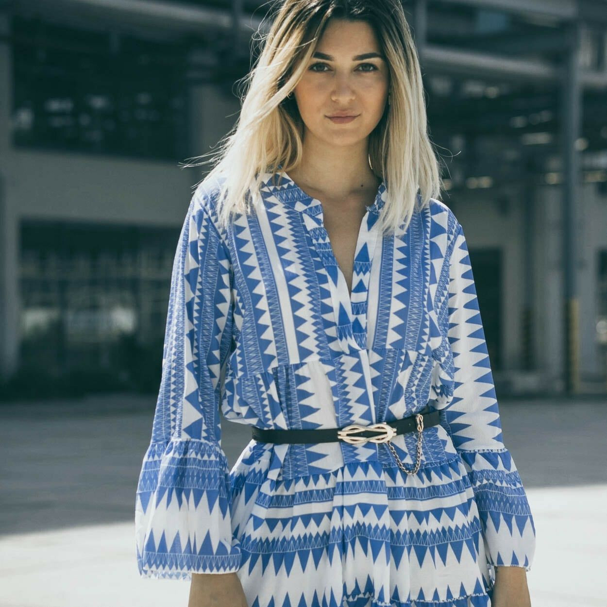 BLUE AZTEC BEACH DRESS