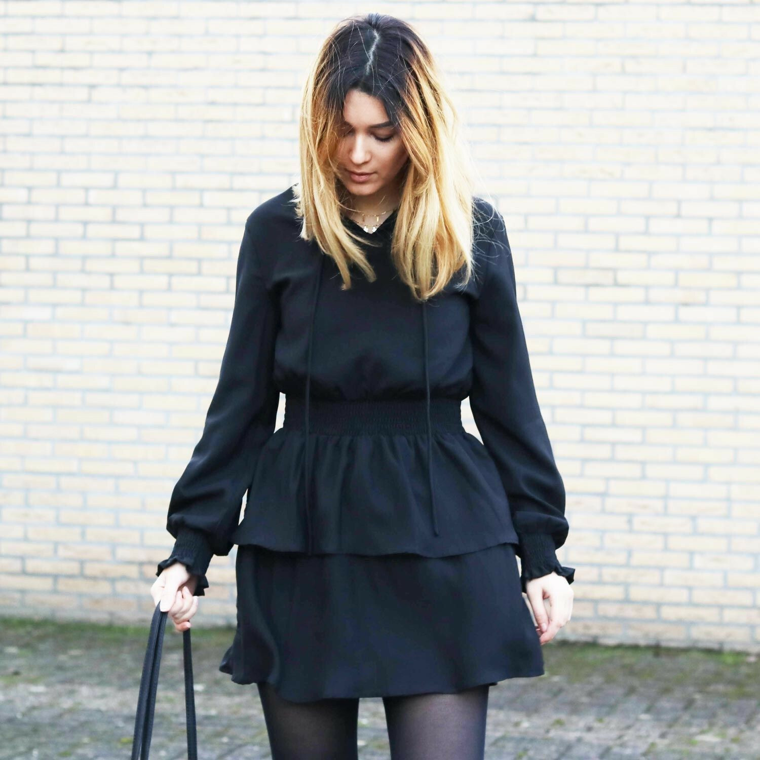 BLACK LAYERED SWING DRESS