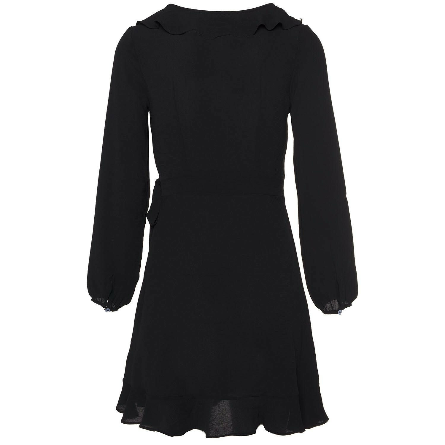 BLACK RUFFLE WRAP DRESS