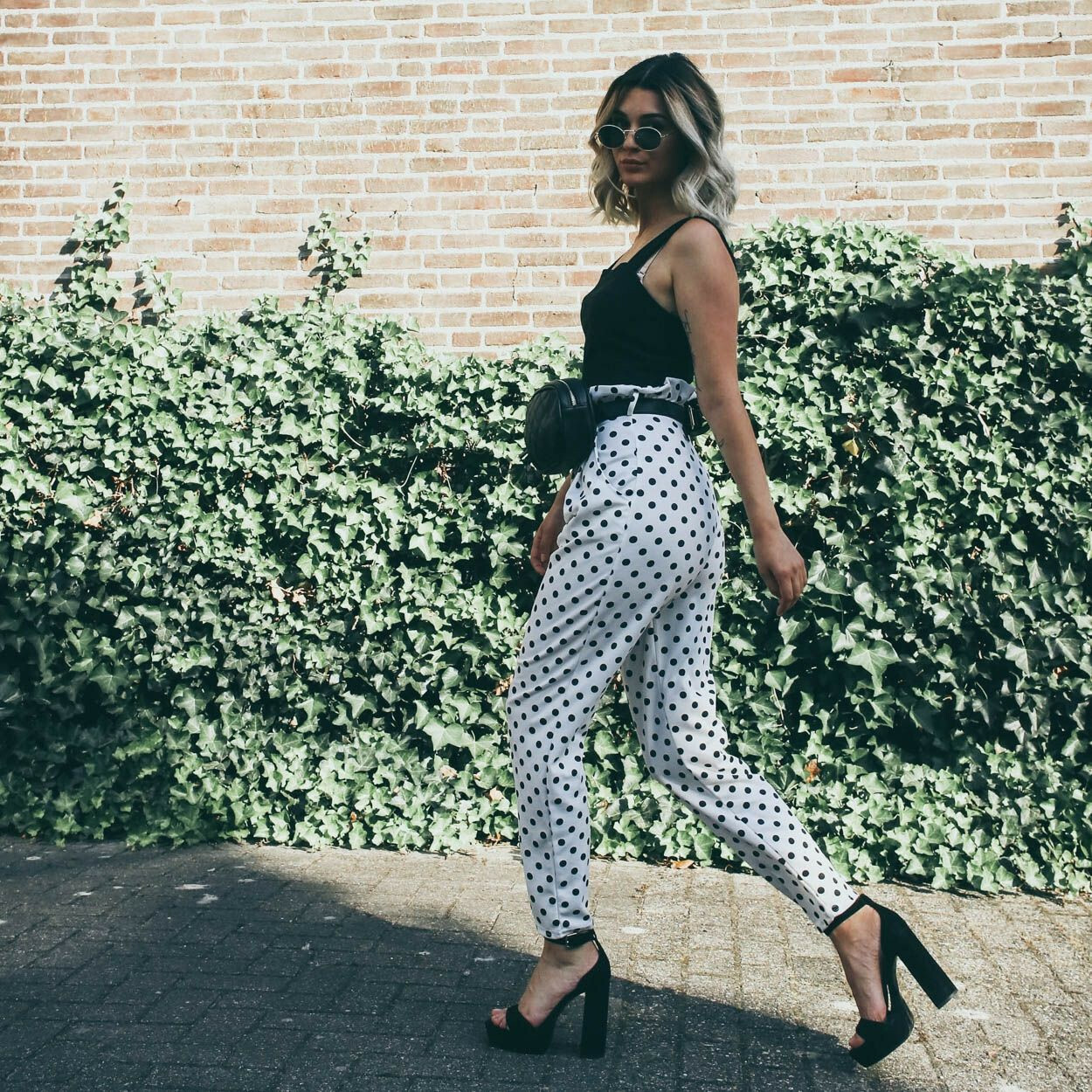 DOTTED PAPERBAG PANTS