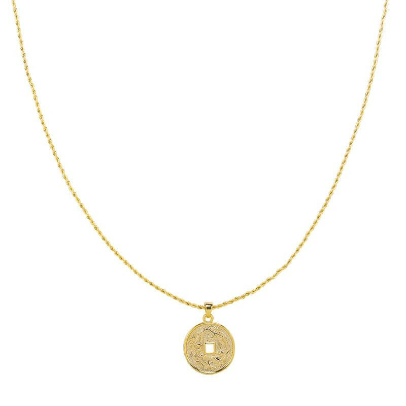 GOLD ENGRAVED COIN NECKLACE
