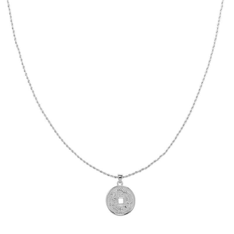 SILVER ENGRAVED COIN NECKLACE