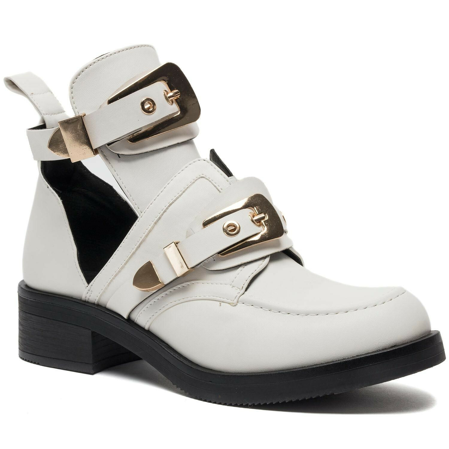 WHITE 'N GOLD BUCKLE BOOTS