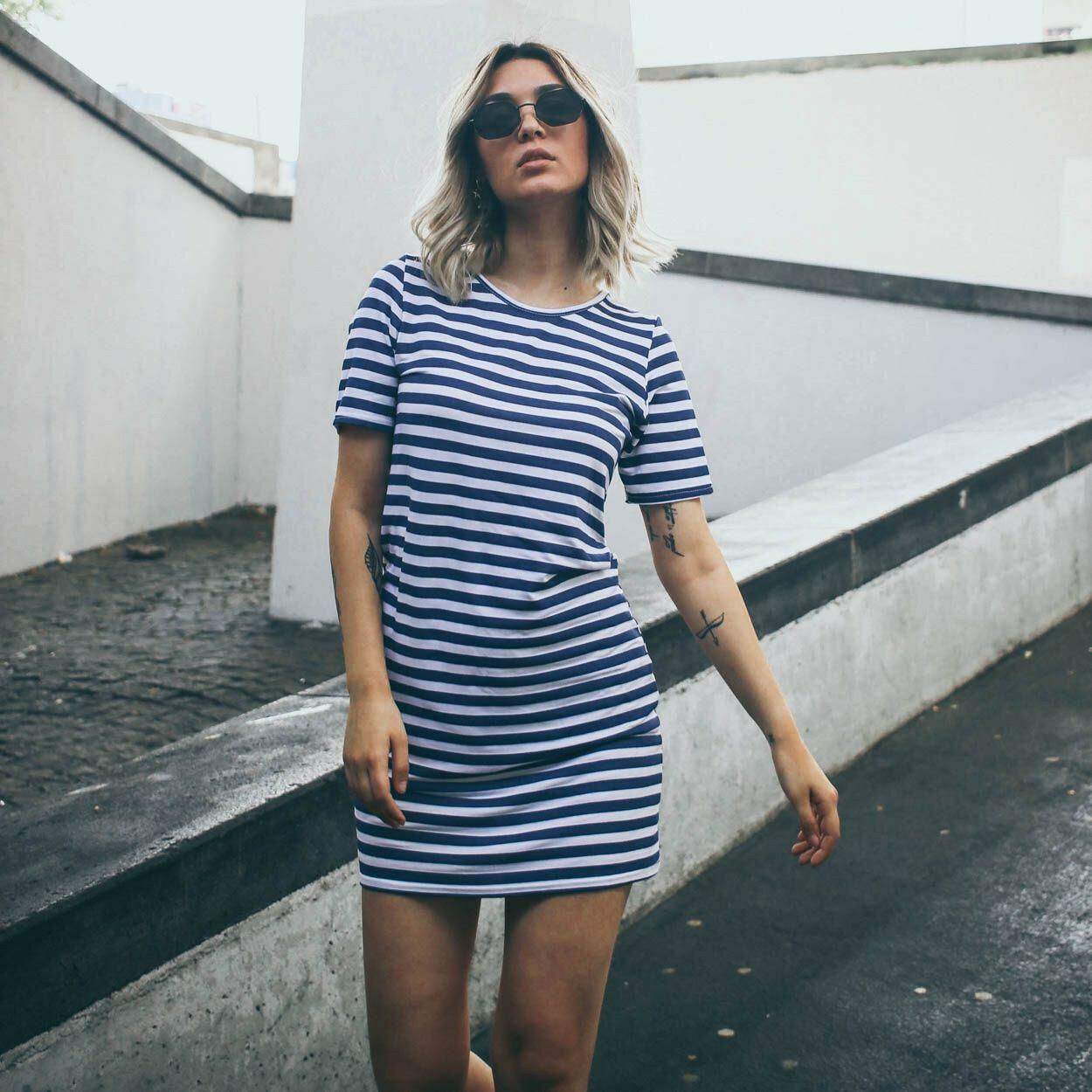 BLUE STRIPY TEE DRESS