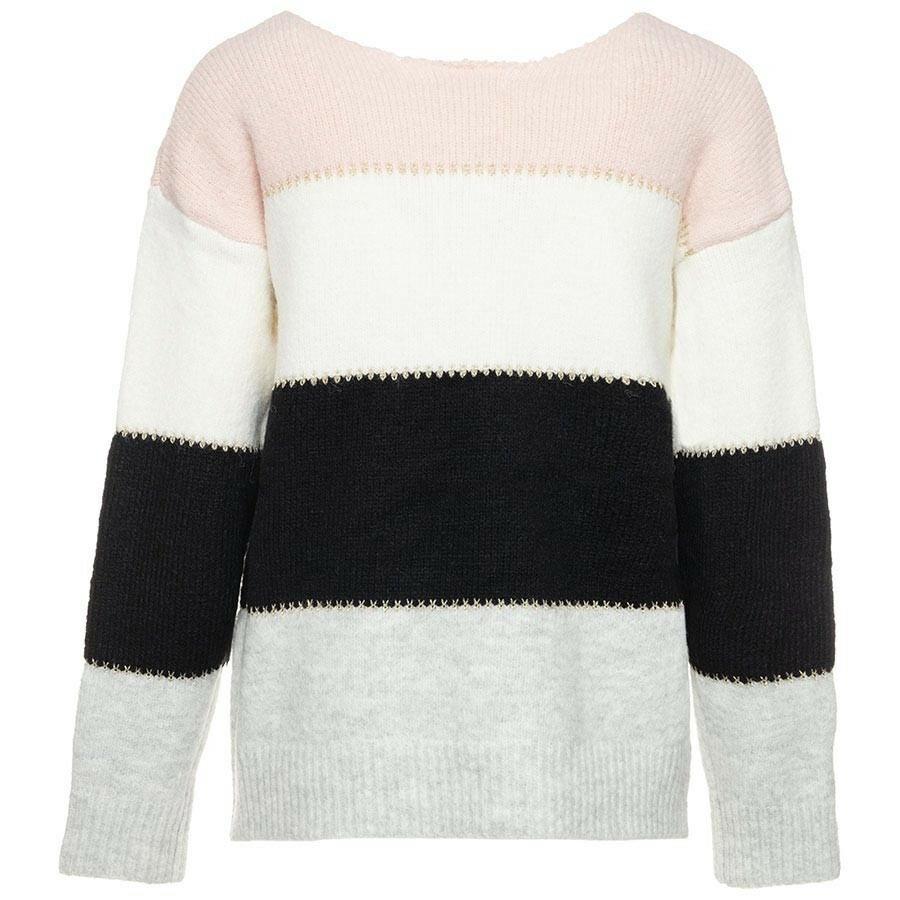 Gebreide trui color block roze Truien ComeGetFashion