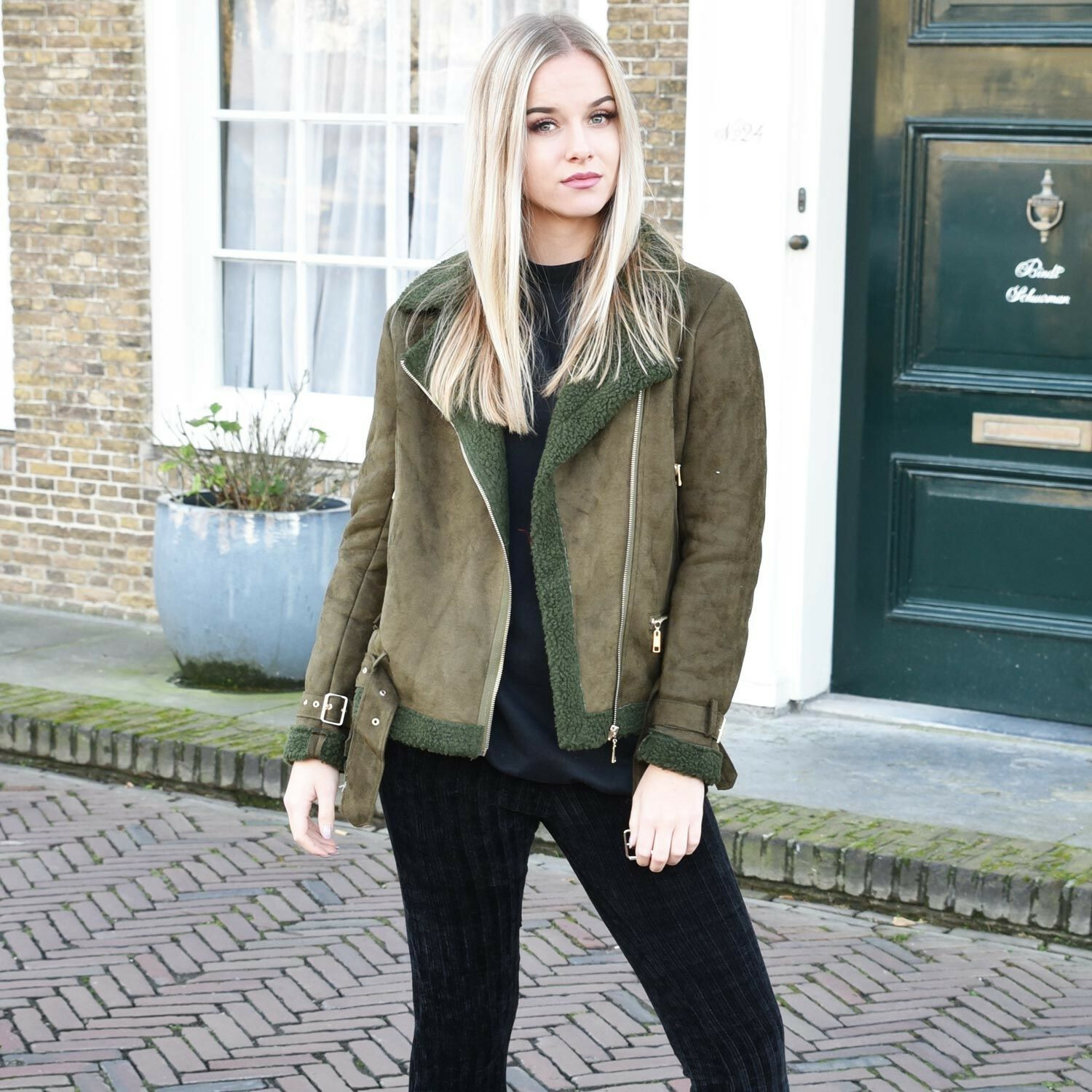 GREEN AND GOLD BIKER JACKET