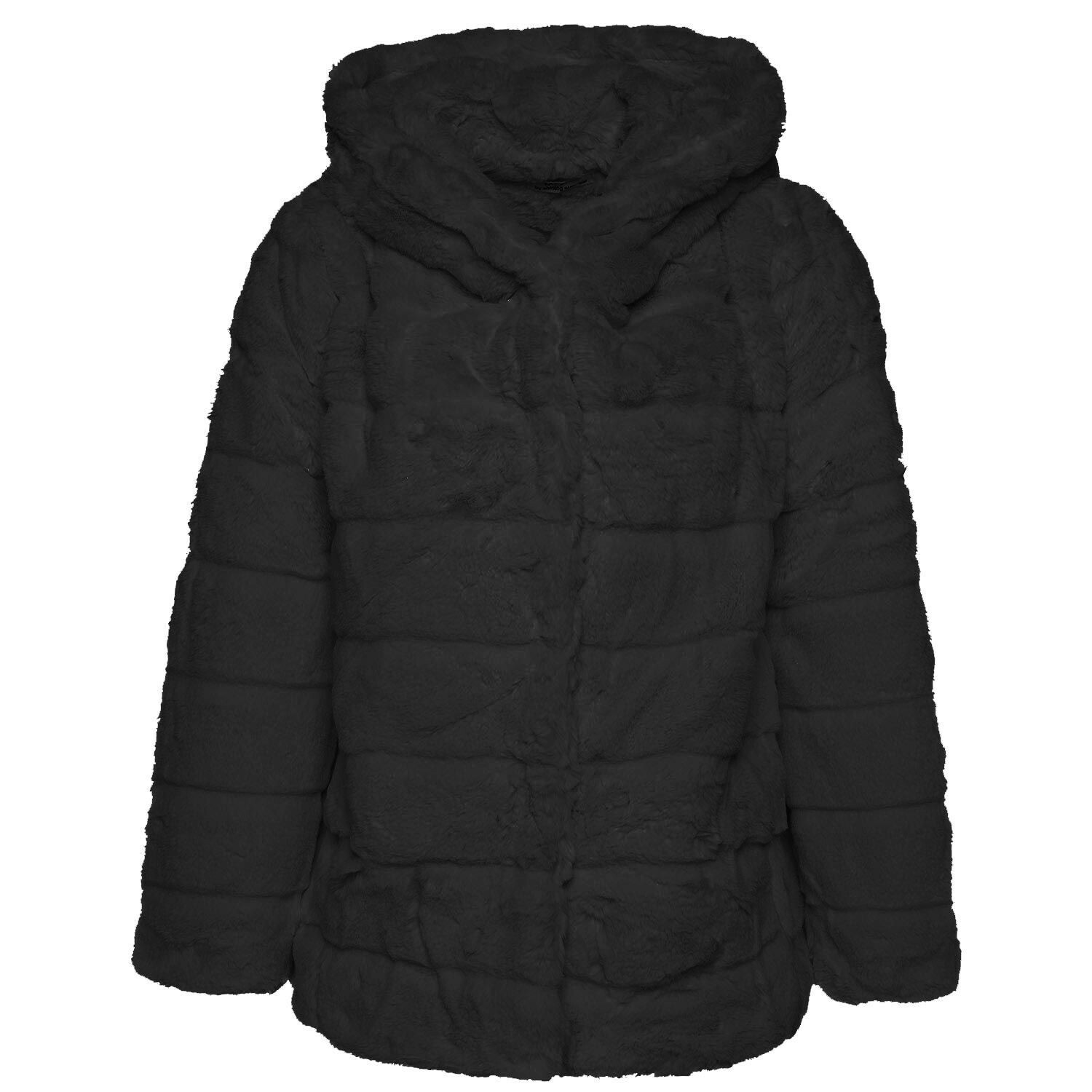 BLACK HOODED TEDDYCOAT