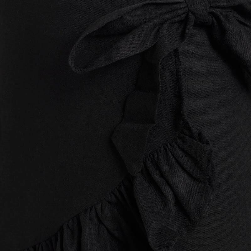 BLACK LINEN WRAP SKIRT