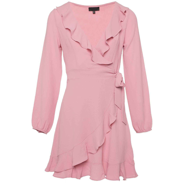 PINK RUFFLE WRAP DRESS