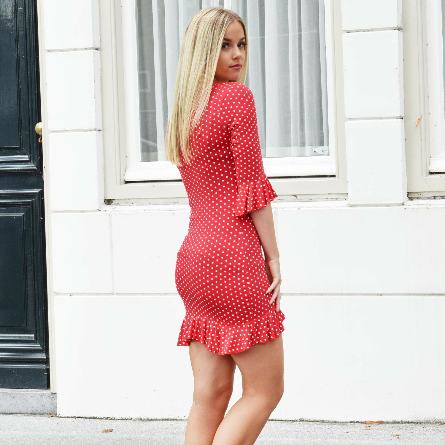 DOT ME UP DRESS RED