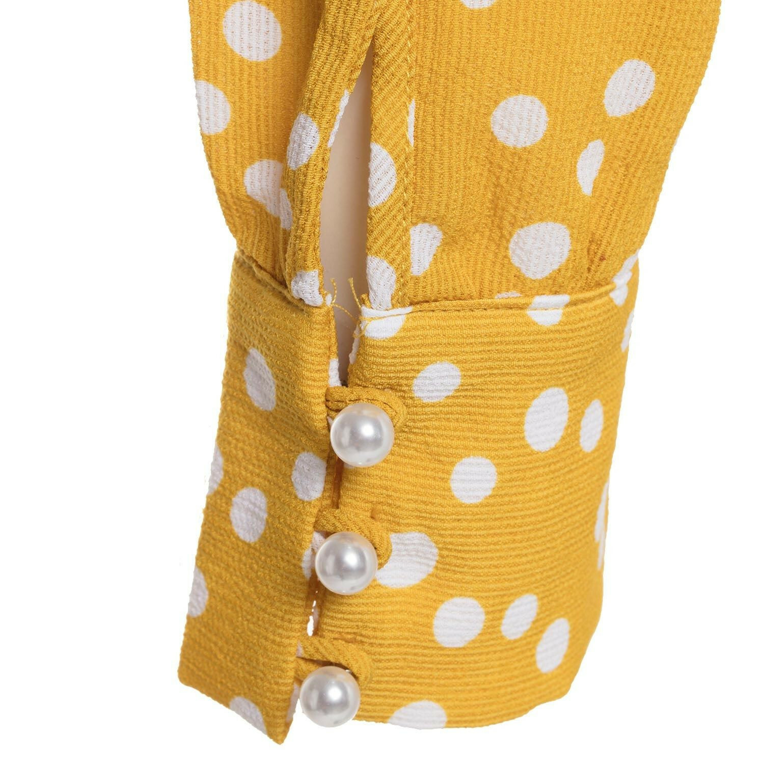 YELLOW DOTTY TIE BLOUSE