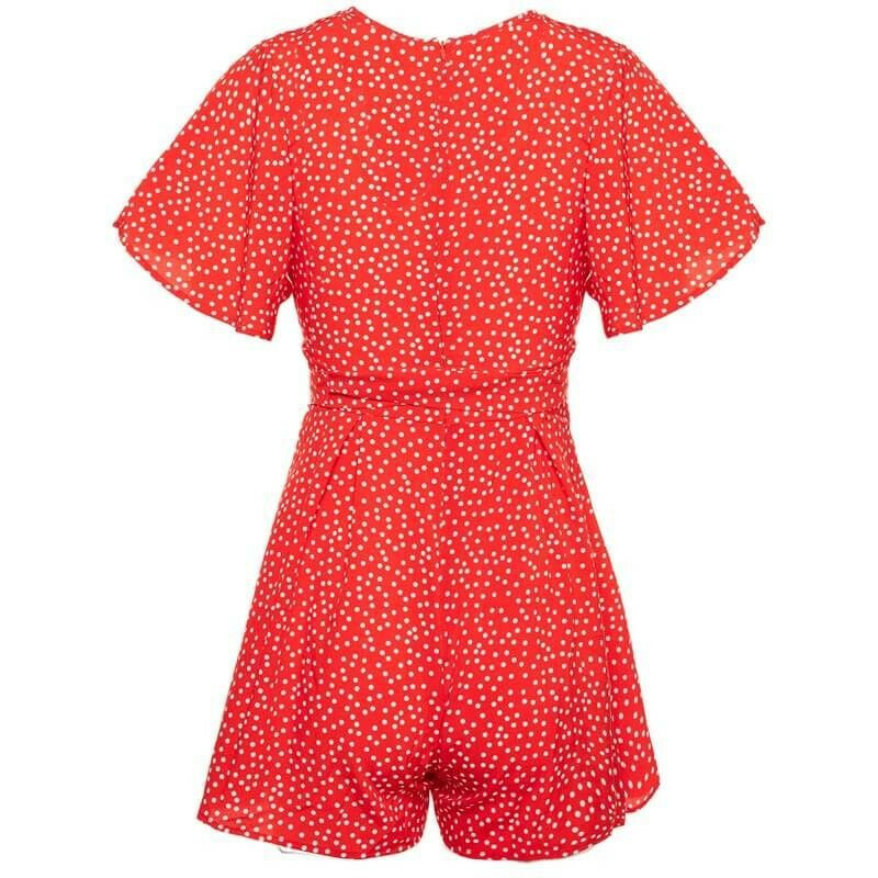 RED TINY DOTS PLAYSUIT