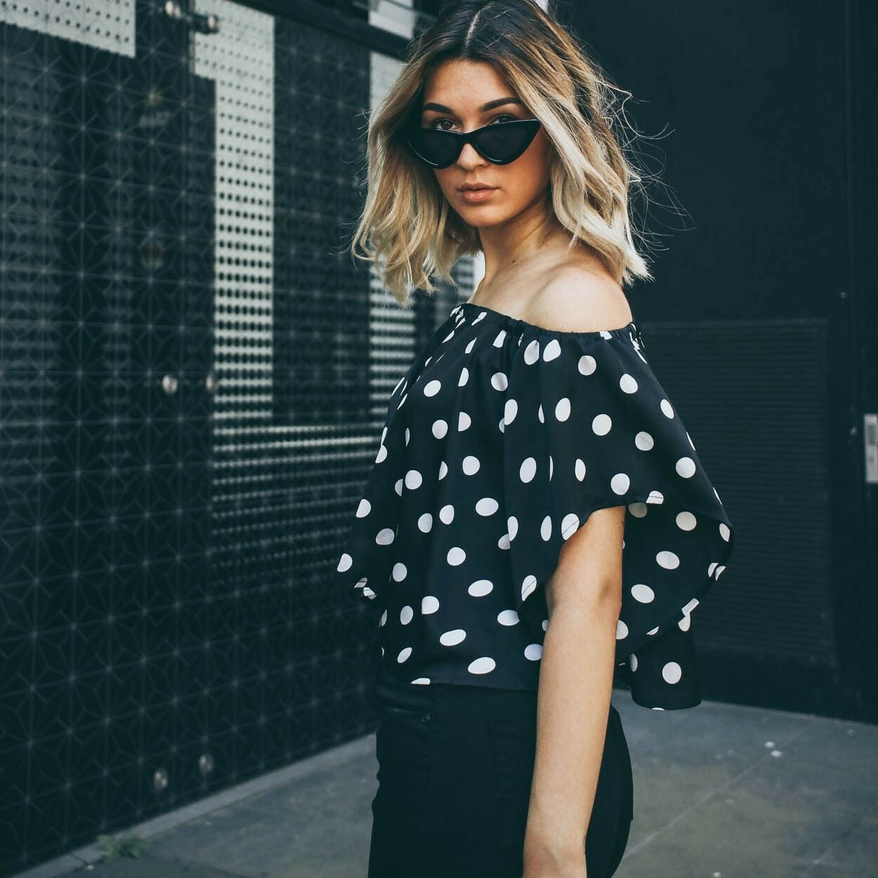FLIRTY DOTTED BARDOT TOP
