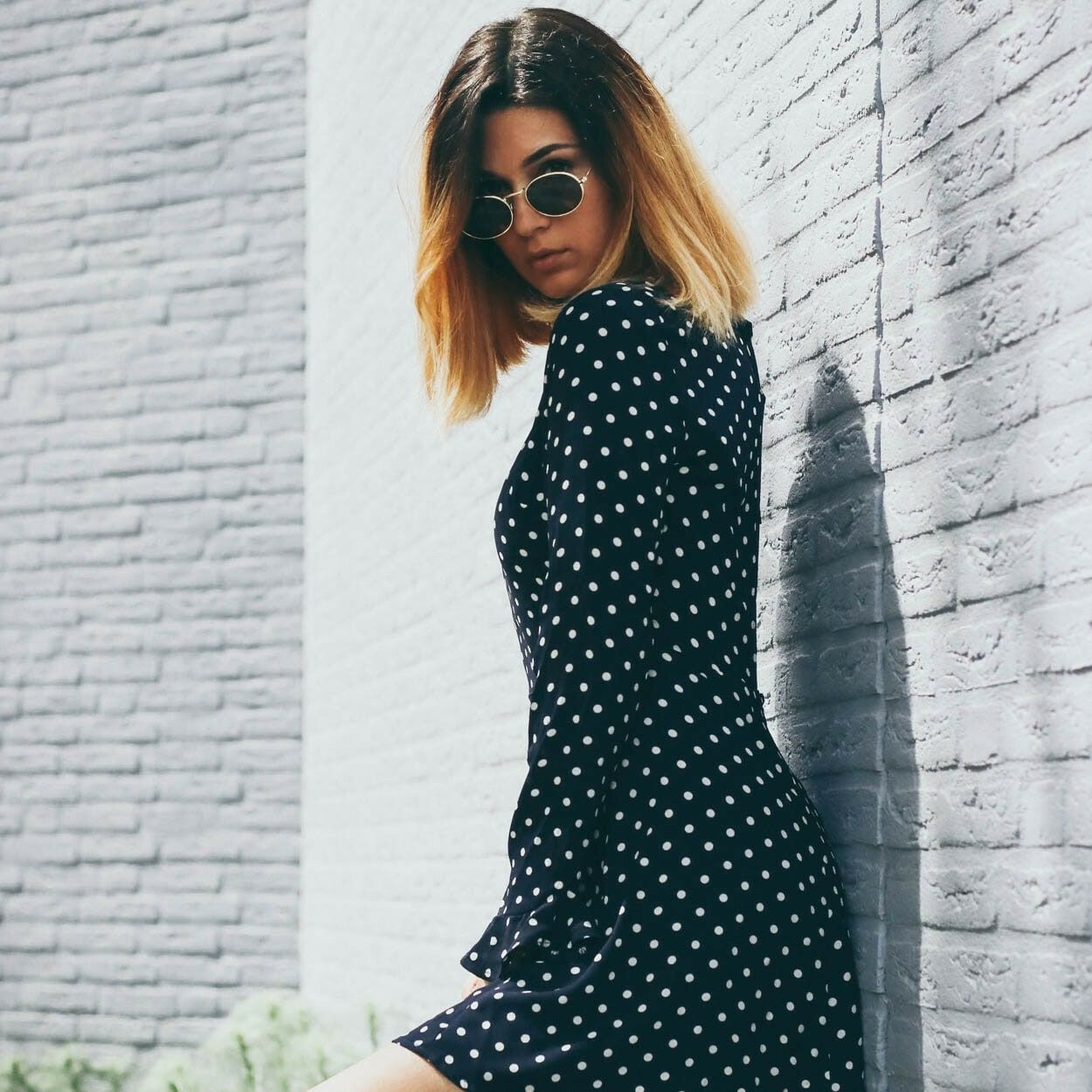 NAVY DOTTED SWING DRESS