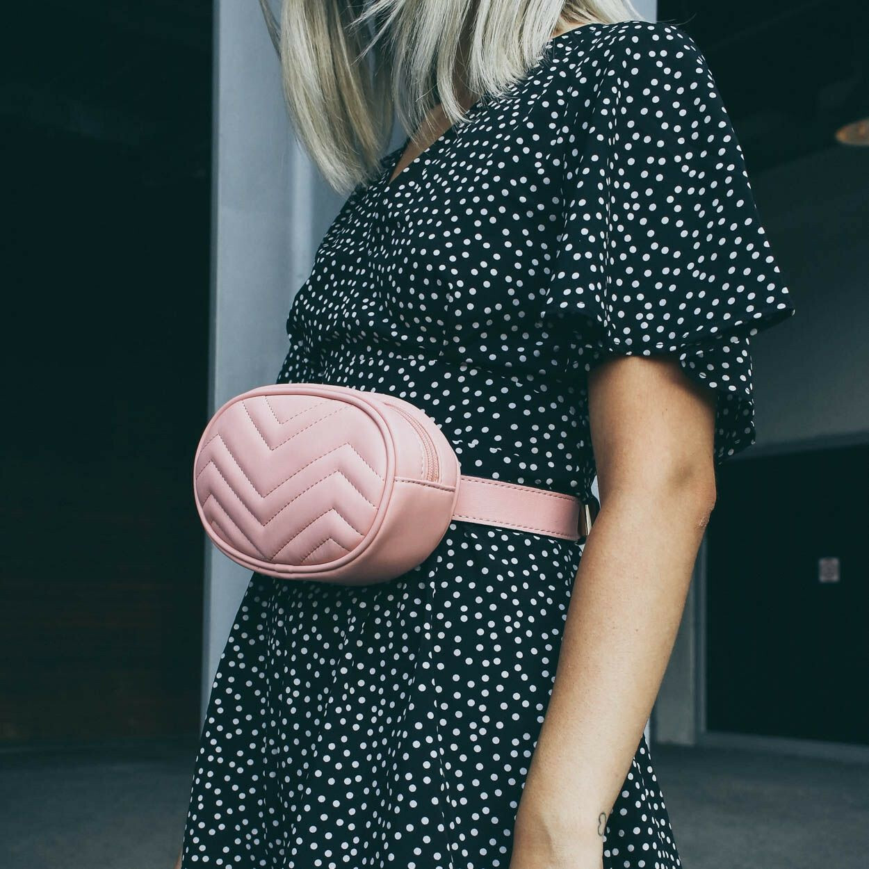 PINK QUILTED BUM BAG