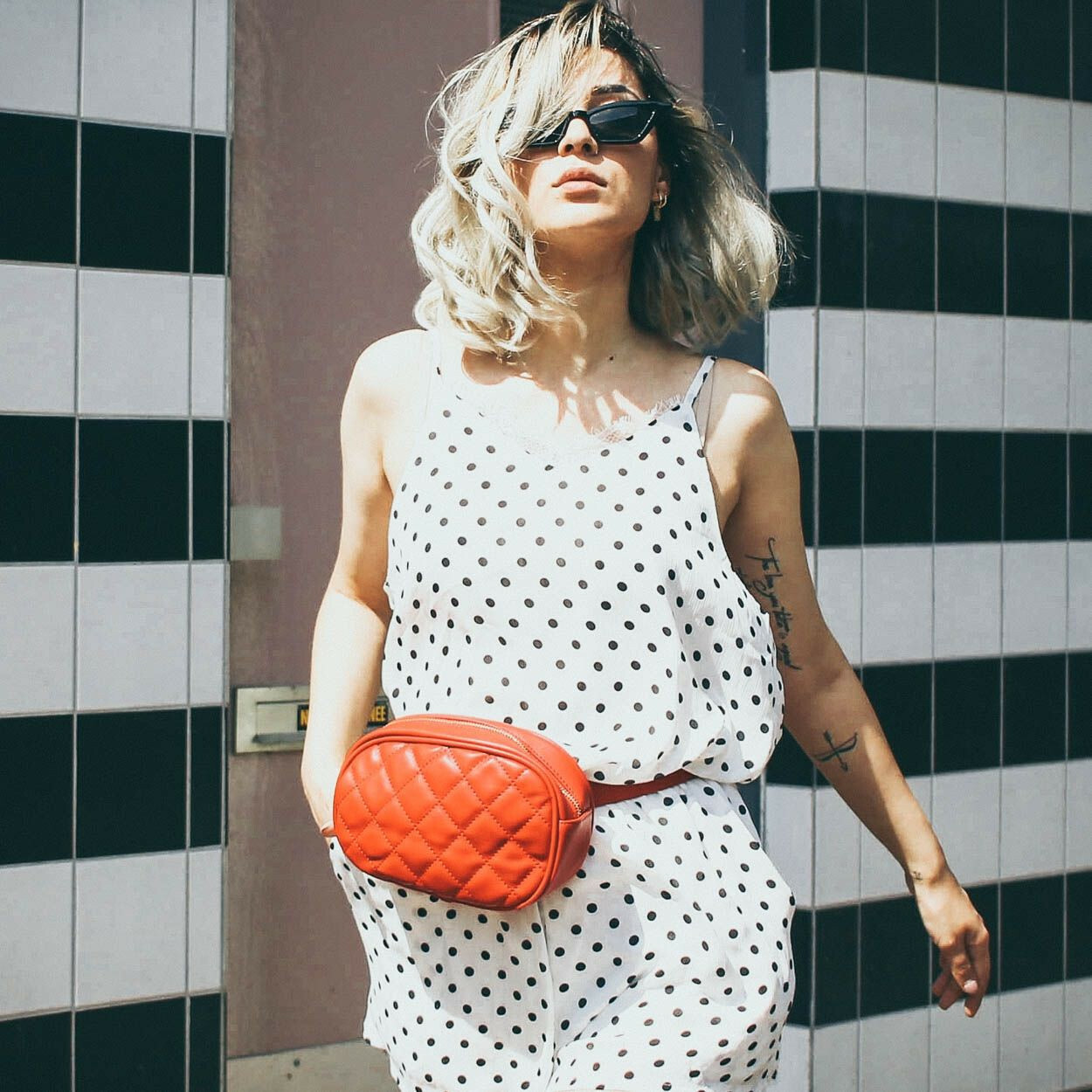 WHITE DOTTED PLAYSUIT