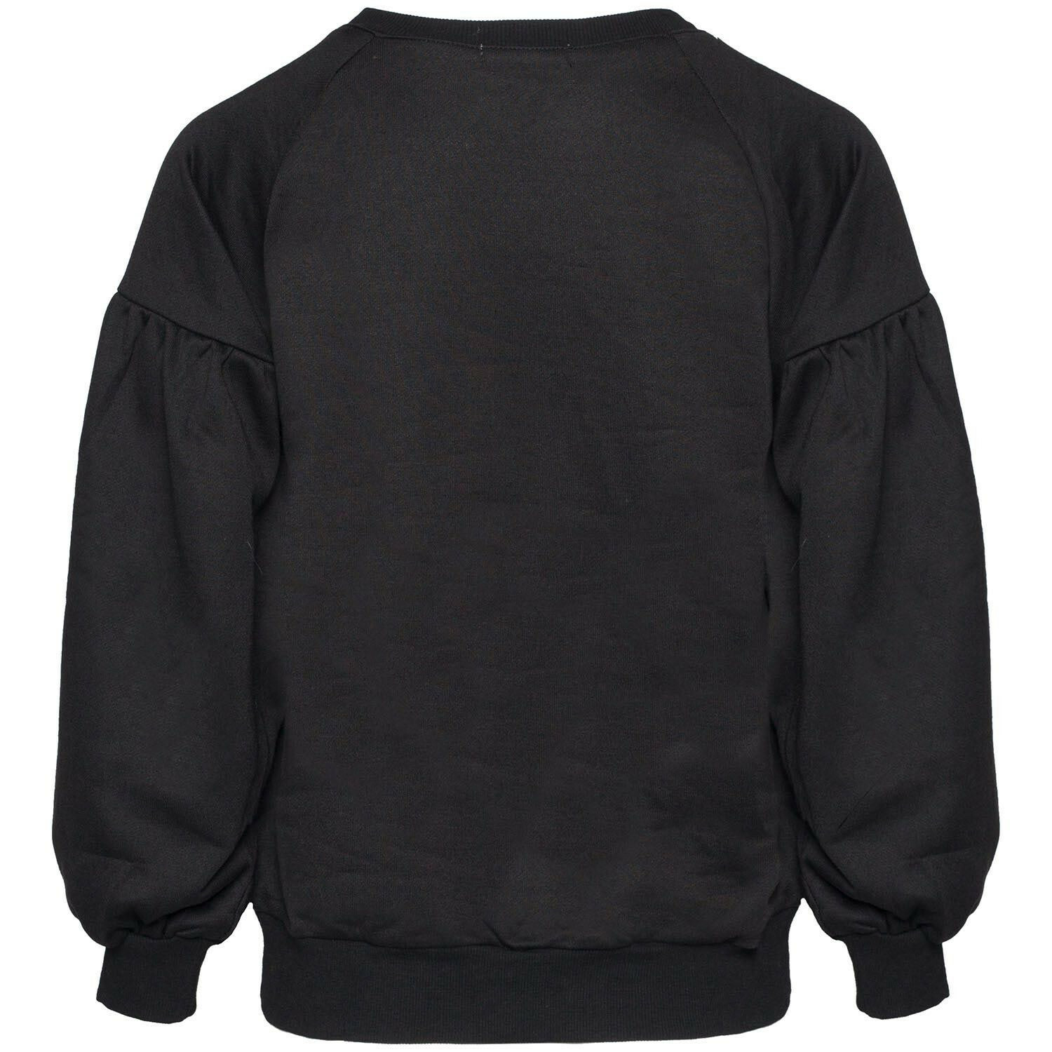 BLACK PUFFED SLEEVE SWEATER