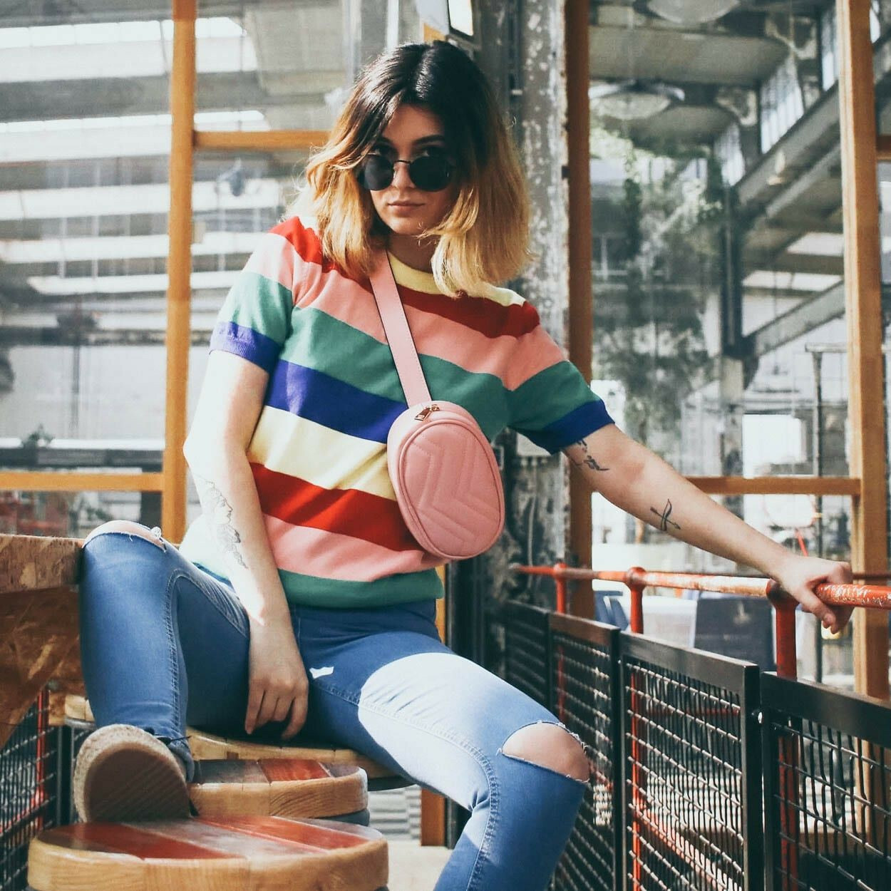 BRIGHTLY STRIPED SWEATER
