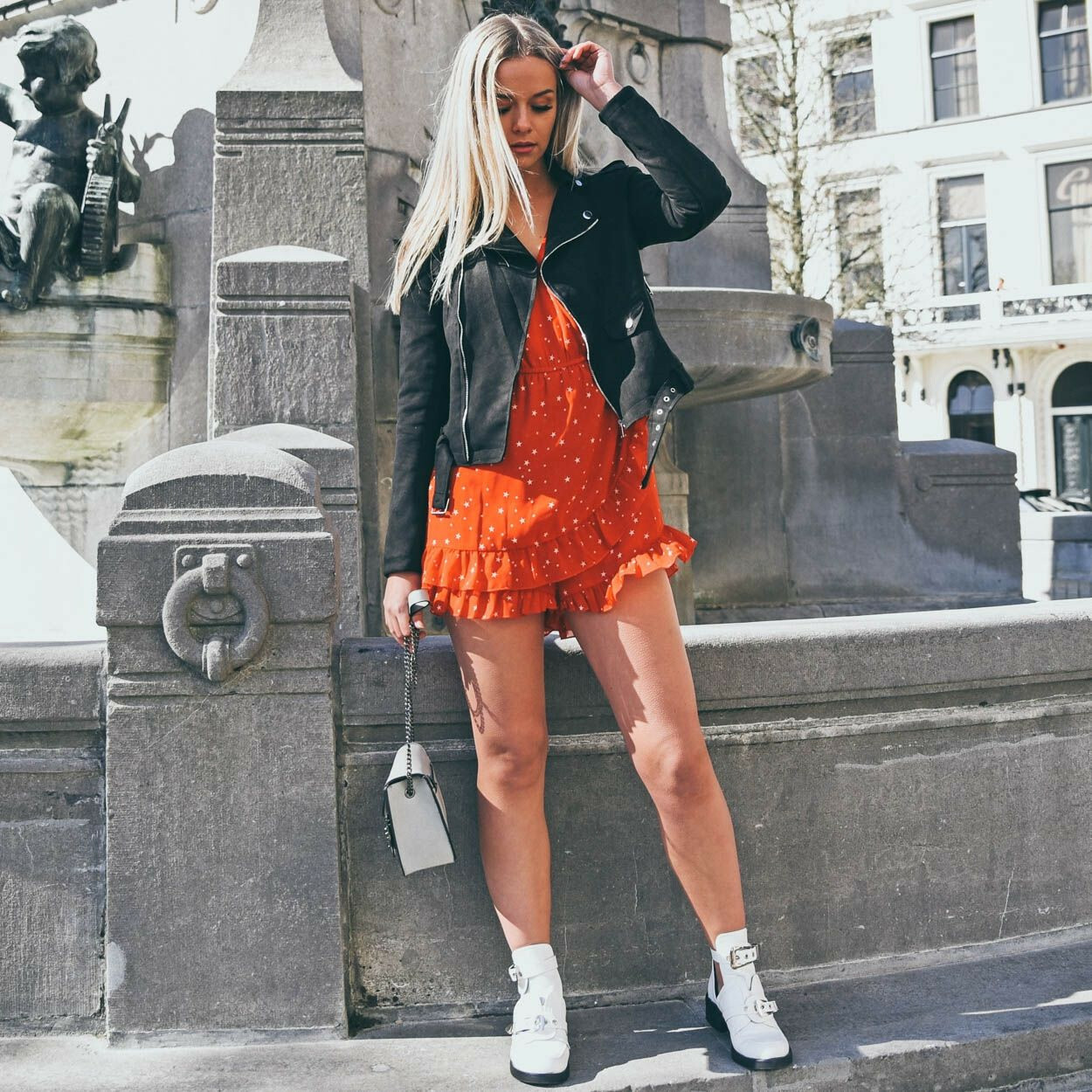 SEEING STARS RED PLAYSUIT