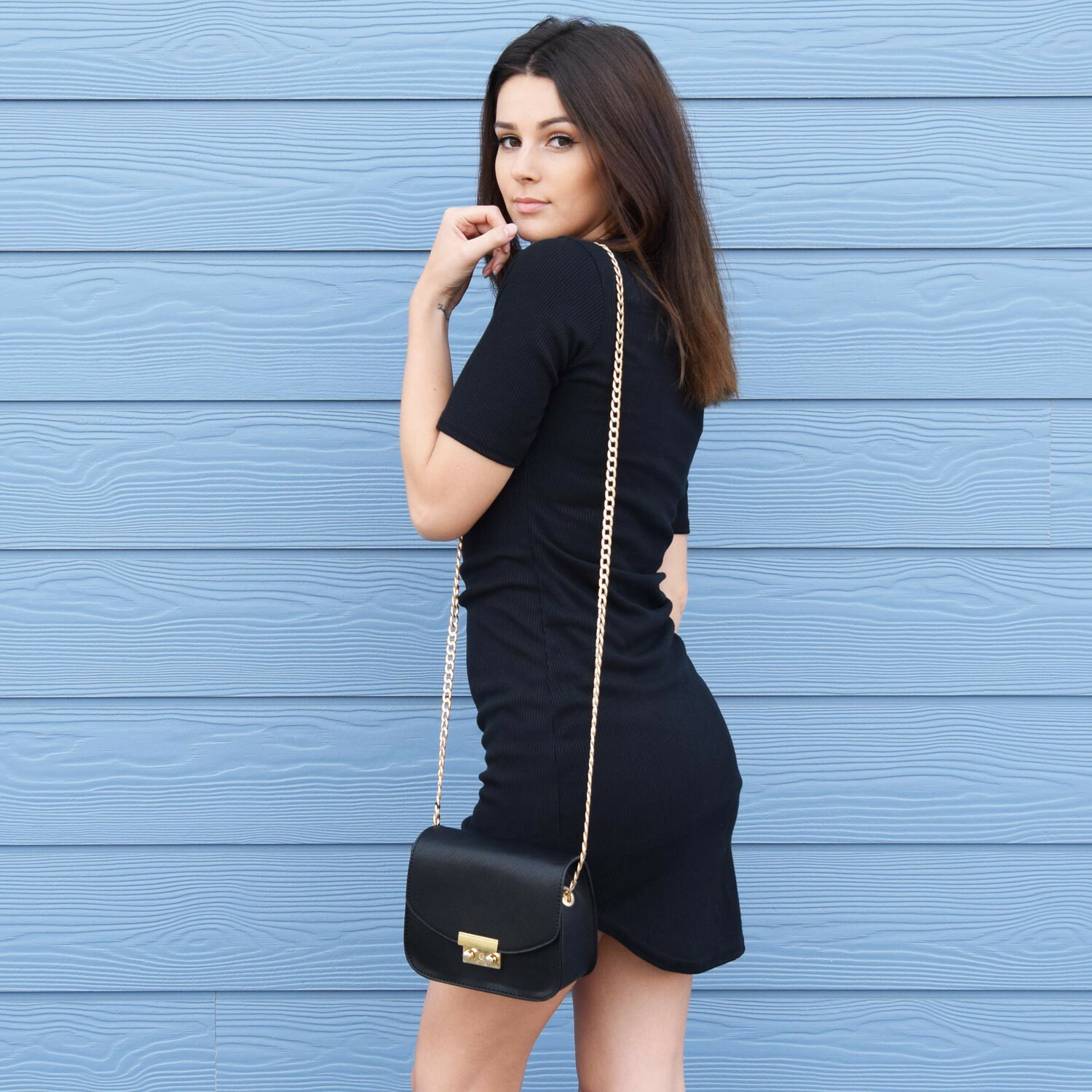 RIBBED HIGH NECK DRESS BLACK