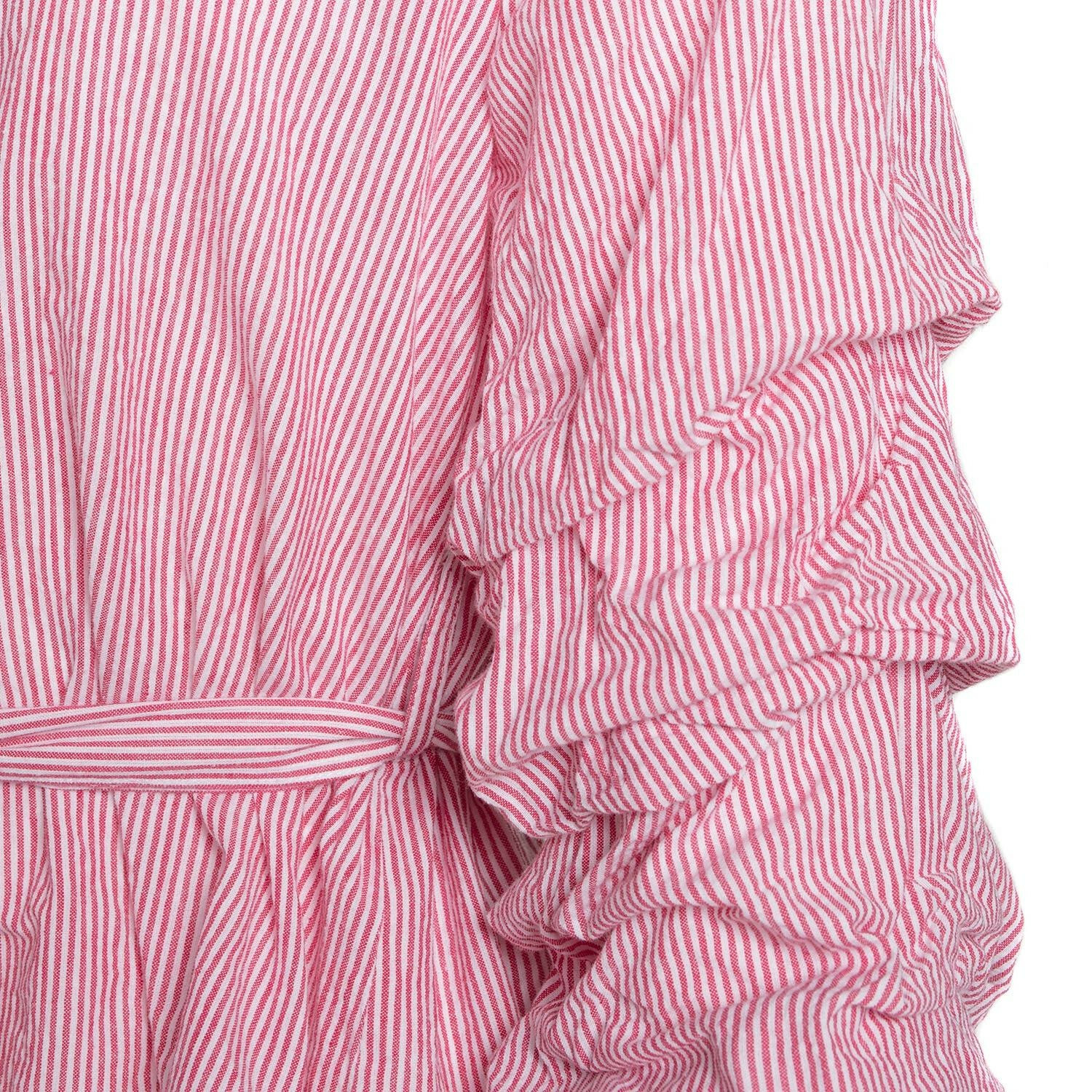 STRIPED TIE WAIST BLOUSE