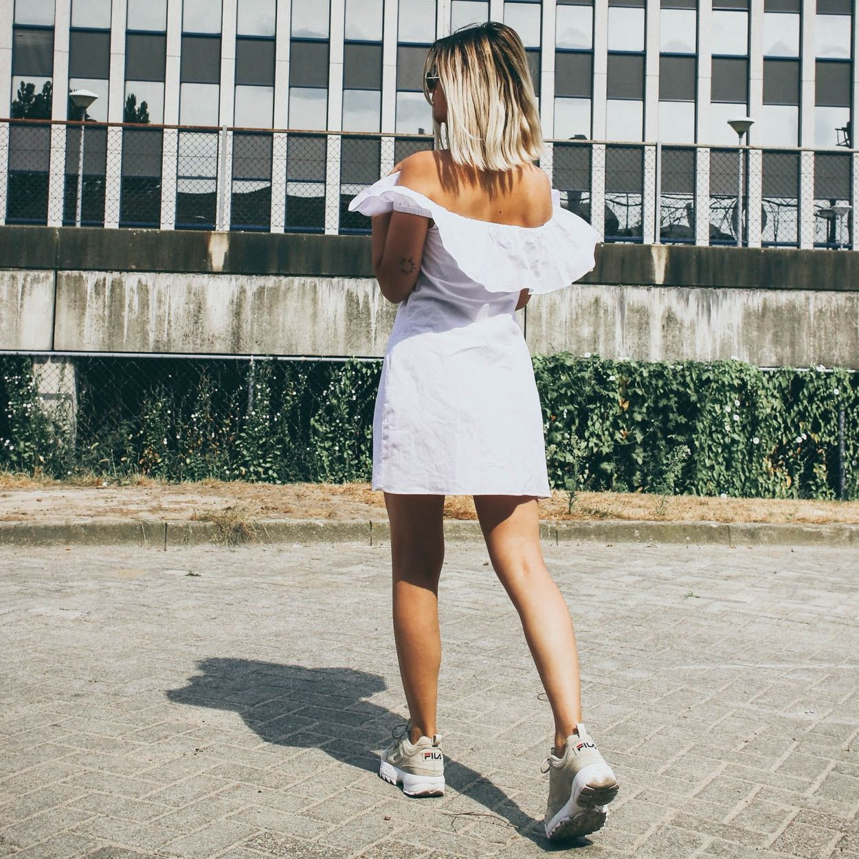 WHITE COTTON BARDOT DRESS