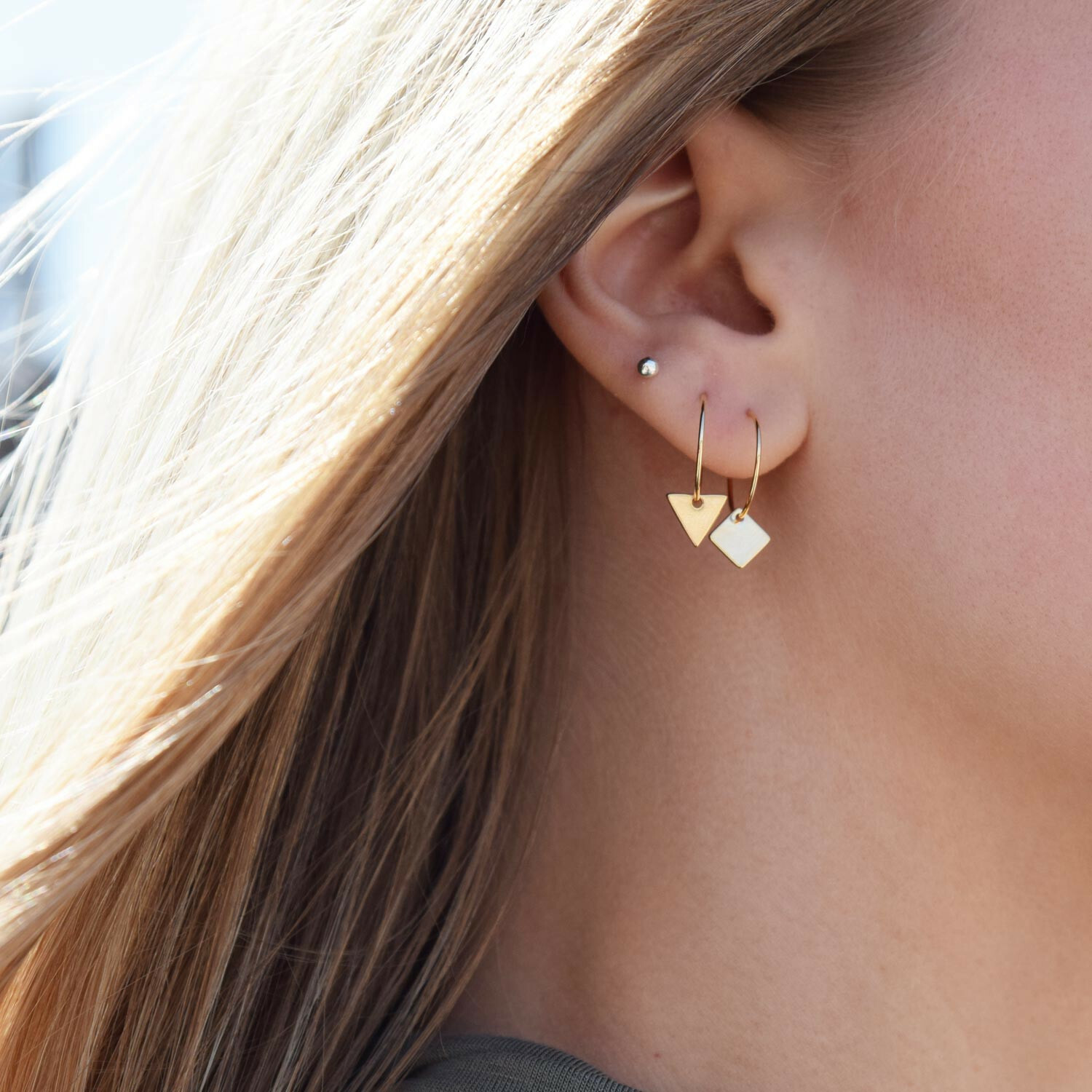 SMALL GOLD TRIANGLE HOOP EARRINGS