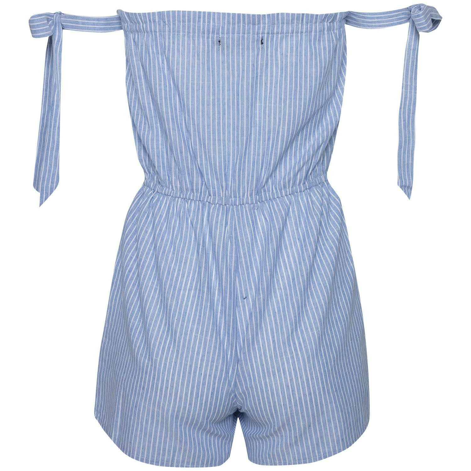 STRIPED BARDOT PLAYSUIT