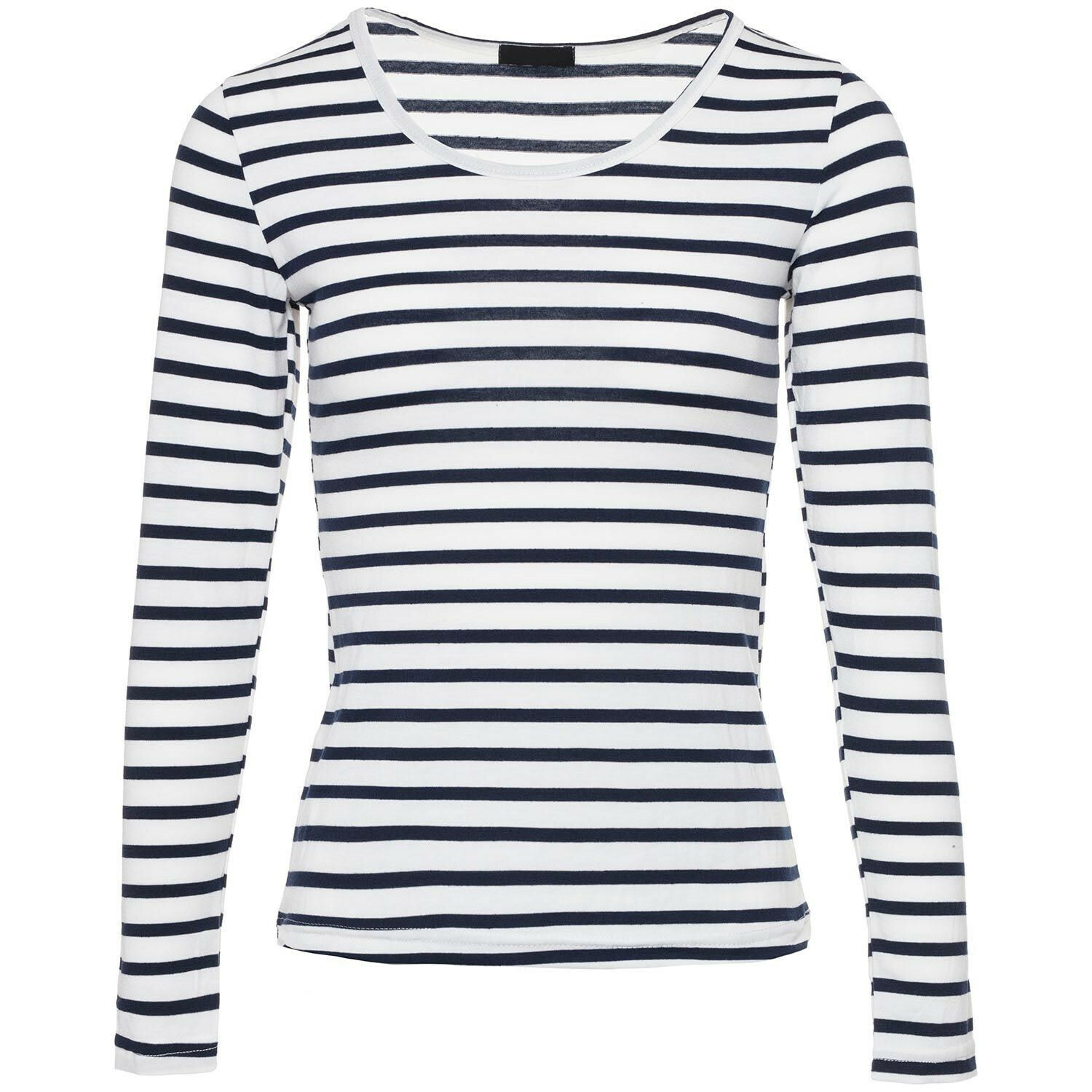 WHITE AND NAVY LONGSLEEVE