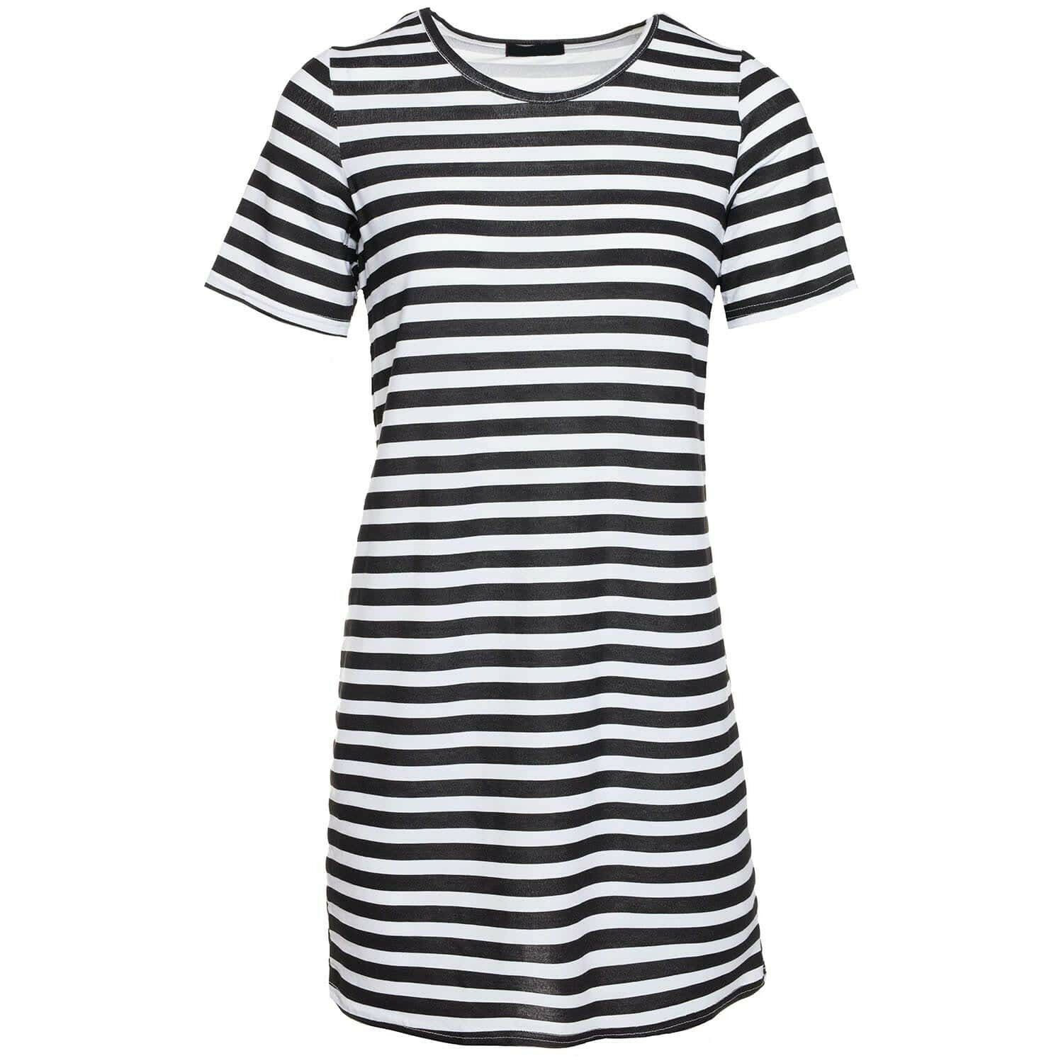 BLACK STRIPY TEE DRESS
