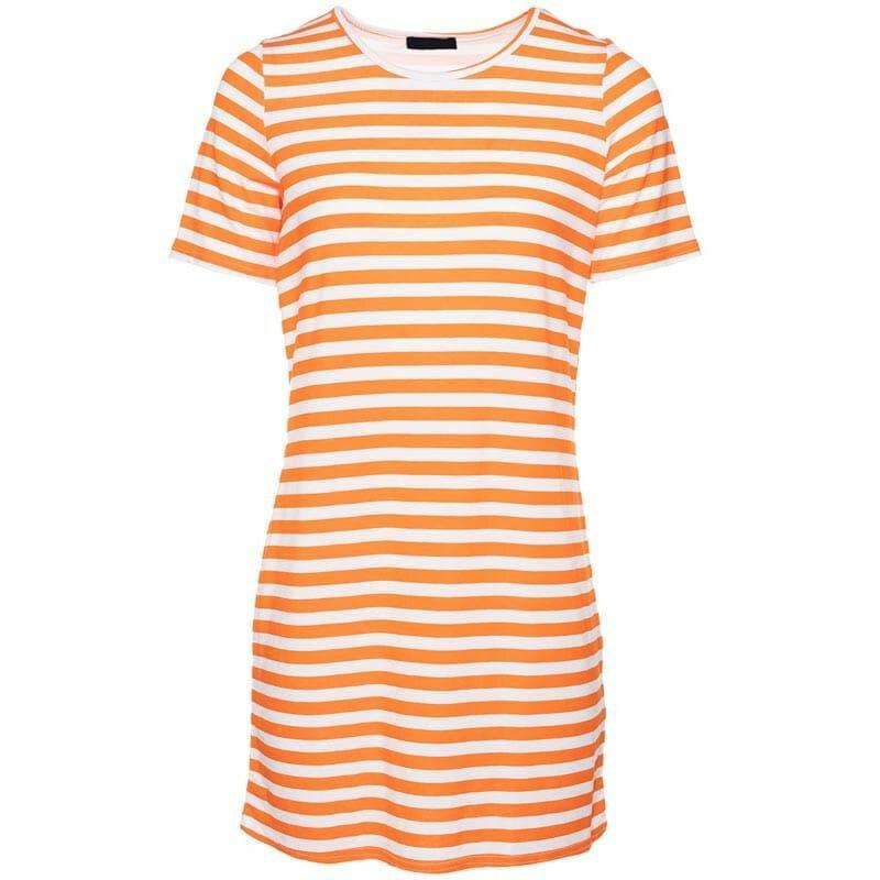 ORANGE STRIPY TEE DRESS
