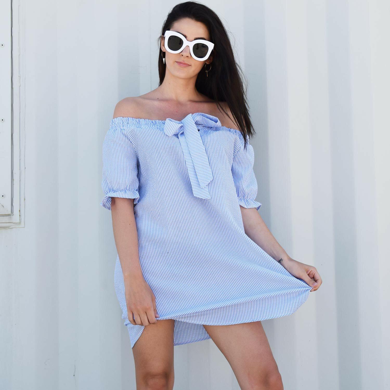 STRIPY BLUE SUMMER DRESS