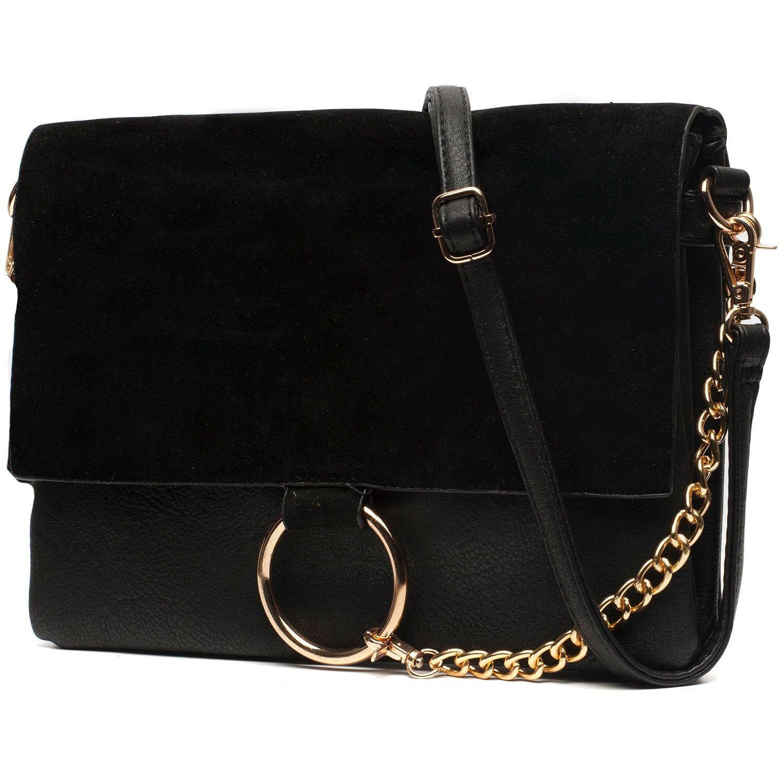 BLACK FOLDOVER RING BAG