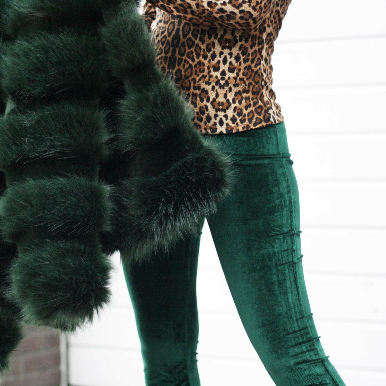 GREEN VELVET FLAIR PANTS