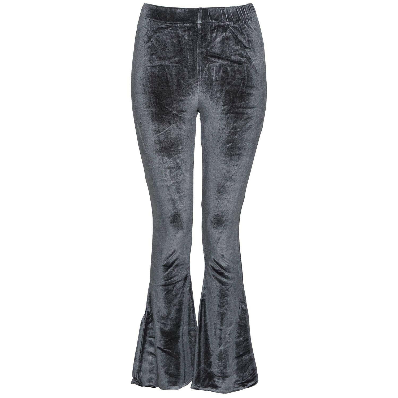 GREY VELVET FLAIR PANTS