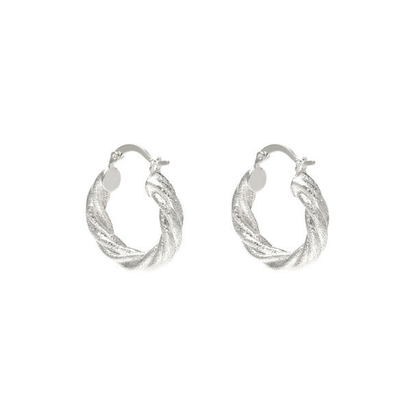TWISTED HOOP EARRINGS SILVER