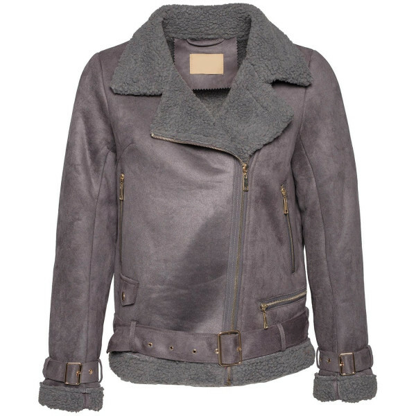 GREY AND GOLD BIKER JACKET