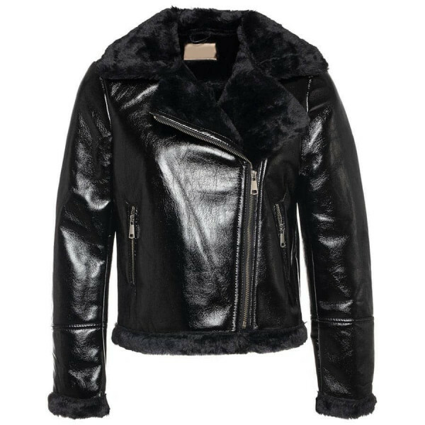 BIKERJACKET FAKE FUR BLACK
