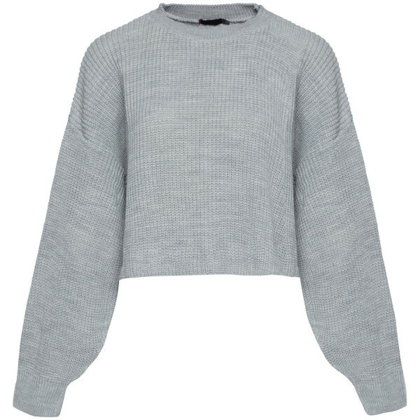 GREY BALLOON SLEEVED KNIT