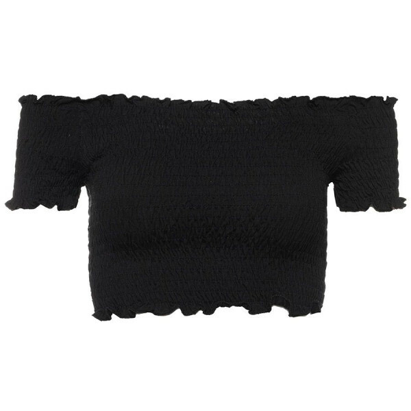 OFF SHOULDER CROP TOP BLACK