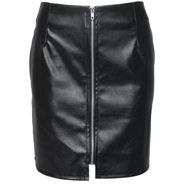 BLACK ZIPPED UP SKIRT