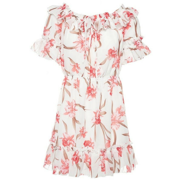 FLORAL BARDOT DRESS WHITE