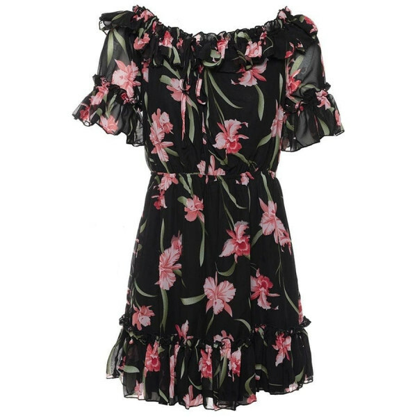 FLORAL BARDOT DRESS BLACK