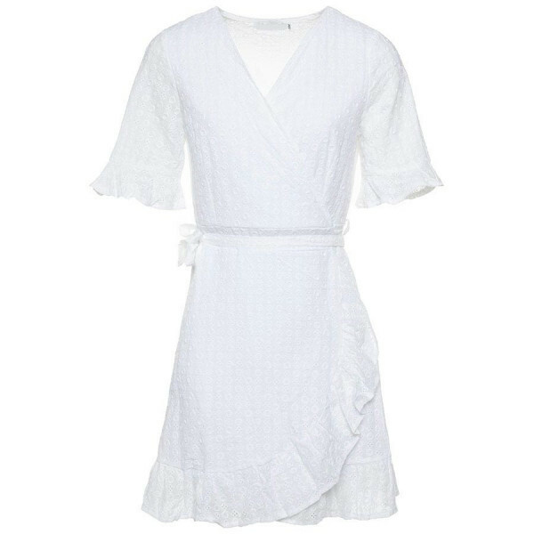 WRAP BRODERIE DRESS WHITE