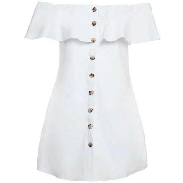 WHITE COTTON BARDOT DRESS