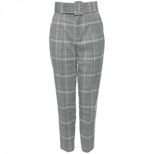 CHECKED HIGH WAIST BELT PANTS
