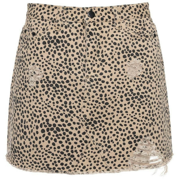 DENIM CHEETAH SKIRT