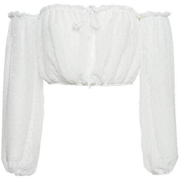 CHIFFON BARDOT TOP WHITE