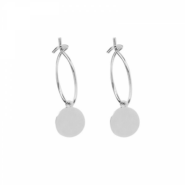 SILVER ROUND PETAL EARRINGS